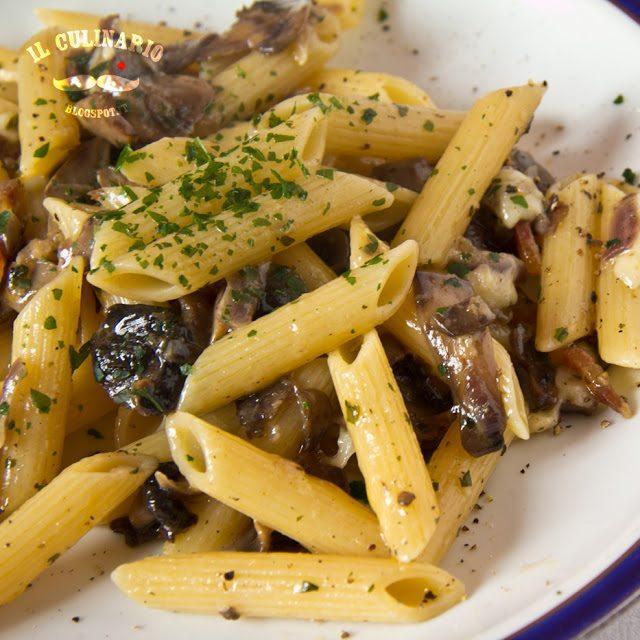 penne-champignons-e-pancetta-alla-crema